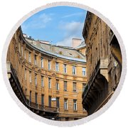 Historic Tenement Houses In Budapest Round Beach Towel