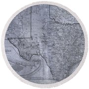 Historic Texas Map Round Beach Towel by Dan Sproul