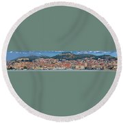 Historic Town Of Sibenik Panorama Round Beach Towel