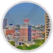 Historic Western Auto Building Kansas City  Missouri Round Beach Towel