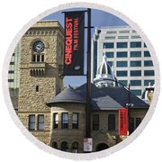 Historic Wing Of The San Jose Art Museum Round Beach Towel