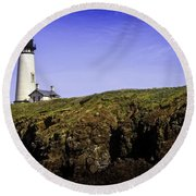 Historic Yaquina Lighthouse Round Beach Towel