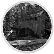 Historical 1868 Cades Cove Cable Mill In Black And White Round Beach Towel