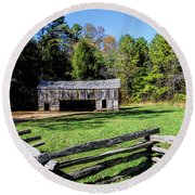 Historical Cantilever Barn At Cades Cove Tennessee Round Beach Towel by Kathy Clark