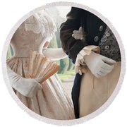Historical Couple Arm In Arm Round Beach Towel