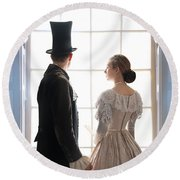 Historical Couple Standing In An Arched Window Round Beach Towel