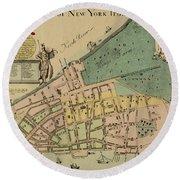 Historical Manhattan Map 1728 Round Beach Towel