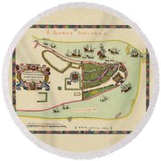 Historical Map Of Manhattan 1661 Round Beach Towel