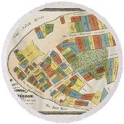 Historical Map Of Manhattan Round Beach Towel