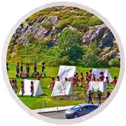 Historical Reenactment Near Visitor's Center In Signal Hill National Historic Site In St. John's-nl Round Beach Towel