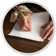 Historical Senior Man Writing With A Quill Pen Round Beach Towel