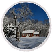 Historical Society House In The Snow Round Beach Towel