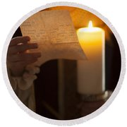 Historical Woman Reading A Letter By Candle Light Round Beach Towel