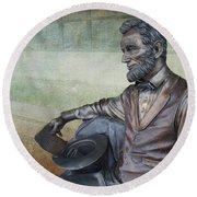 History - Abraham Lincoln Contemplates -  Luther Fine Art Round Beach Towel