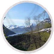 Hjorundfjord From Slogan Round Beach Towel