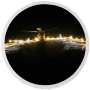 Hms Monmouth's Merlin Helicopter  Round Beach Towel