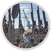 Hms Victory Cannon Round Beach Towel