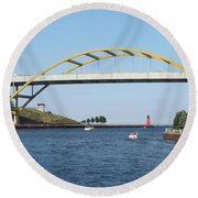 Hoan Bridge Boats Light House 1 Round Beach Towel