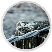 Hoar Frost At Sun Up Round Beach Towel