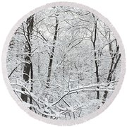 Hoar Frost Covered Trees In Forest Round Beach Towel