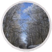 Hoar Frost On Campground Road Round Beach Towel