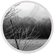 Hoar Frost On The Wood Round Beach Towel