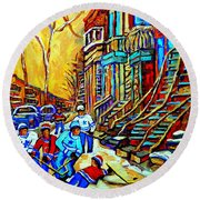 Hockey Art Montreal Winter Scene Winding Staircases Kids Playing Street Hockey Painting  Round Beach Towel by Carole Spandau
