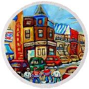 Hockey Art Montreal Winter Street Scene Painting Chez Vito Boucherie And Fairmount Bagel Round Beach Towel