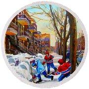 Hockey Art - Paintings Of Verdun- Montreal Street Scenes In Winter Round Beach Towel