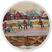 Hockey Game-outdoor Hockey -beautiful Canadian Winter Landscape-hockey Heroes-carole Spandau Round Beach Towel
