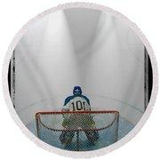 Hockey Goalie In Crease Round Beach Towel