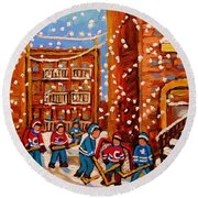 Hockey In The Laneway On Snowy Day Paintings Of Montreal Streets In Winter Carole Spandau Round Beach Towel
