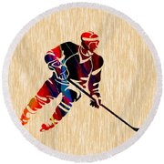 Hockey Player Round Beach Towel