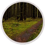 Hoh Rainforest Road Round Beach Towel