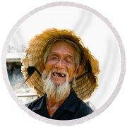 Hoi An Fisherman Round Beach Towel by David Smith