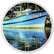 Hoi An Fishing Boat 01 Round Beach Towel