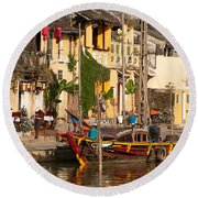 Hoi An Fishing Boat 02 Round Beach Towel