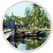 Hoi An Fishing Boats 01 Round Beach Towel