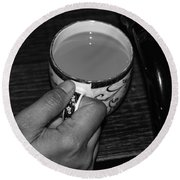 Holding A Full Cup Of Hot Tea Round Beach Towel