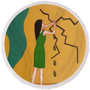 Holding Back The Flood Round Beach Towel by Patrick J Murphy