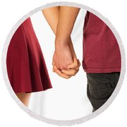 Holding Hands Round Beach Towel by Carlos Caetano