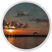 Holgate Bay Sunset Round Beach Towel