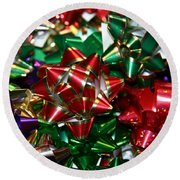 Holiday Bows Round Beach Towel