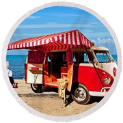 Holiday By The Seaside Round Beach Towel