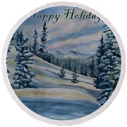 Happy Holidays - Winter Landscape Round Beach Towel