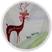 Holiday Greetings Round Beach Towel