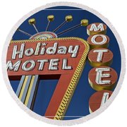 Holiday Motel Las Vegas Round Beach Towel