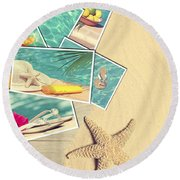 Holiday Postcards Round Beach Towel by Amanda Elwell