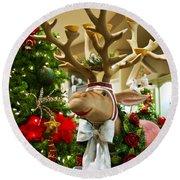 Holiday Reindeer Round Beach Towel