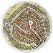 Holland: Gouda Plan, 1649 Round Beach Towel